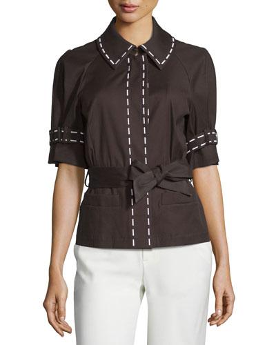 Embroidered-Trim Belted Jacket, Mocca