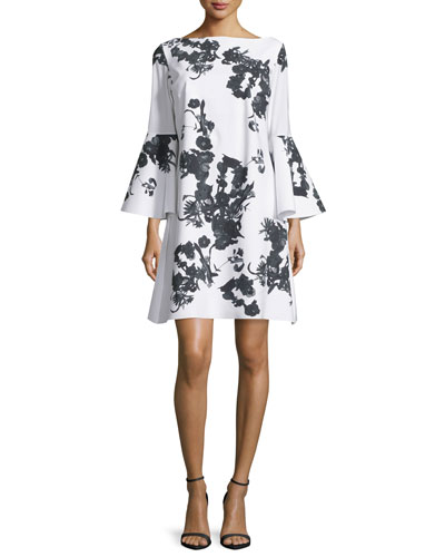 Bell-Sleeve Blossom Shift Dress, Black/White
