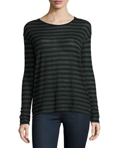 Striped Boxy Cashmere-Blend Crewneck Pullover