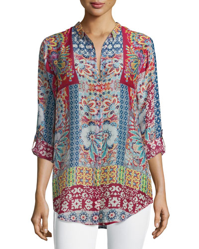 Brock Printed Button-Front Blouse, Red/Multi, Plus Size