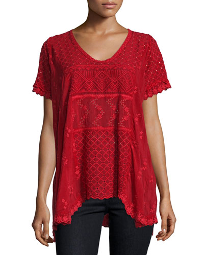Jamie Short-Sleeve Embroidered Eyelet Top, Scarlet
