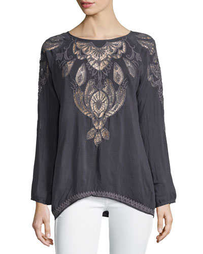 Jewel Georgette Lace-Inset Tunic, Plus Size