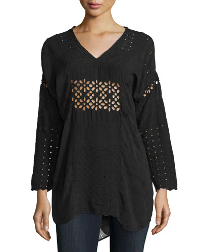 Tribal V-Neck Eyelet Tunic, Black, Plus Size
