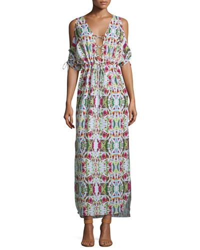 Jungle Printed Maxi Coverup Dress