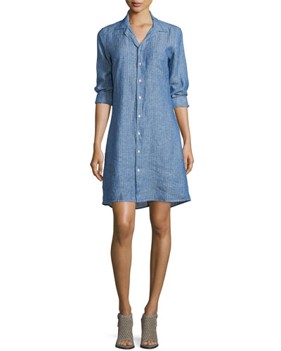 Murphy Pindot Linen Shirtdress