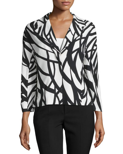 3/4-Sleeve Short Lined Jacket, White