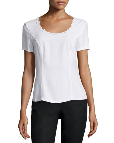 Round-Neck Fitted Top, White
