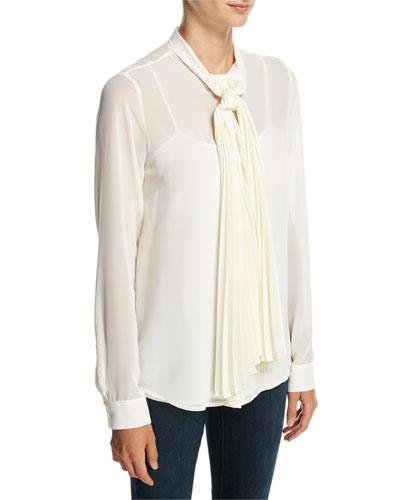 Long-Sleeve Pleated Tie-Neck Chiffon Blouse, Cream