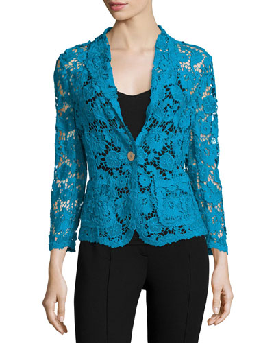 3/4-Sleeve One-Button Lace Jacket, Lagoon