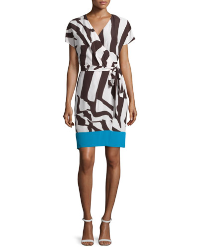 Short-Sleeve Colorblock Wrap Dress, Mocca