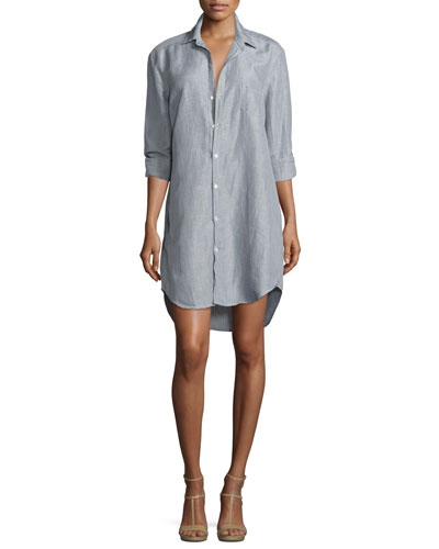 Mary Long-Sleeve Shirtdress, Gray