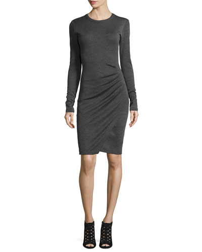 Long-Sleeve Ruched Jersey Dress, Derby