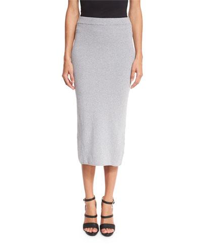 Ribbed Midi Skirt, Pearl Heather