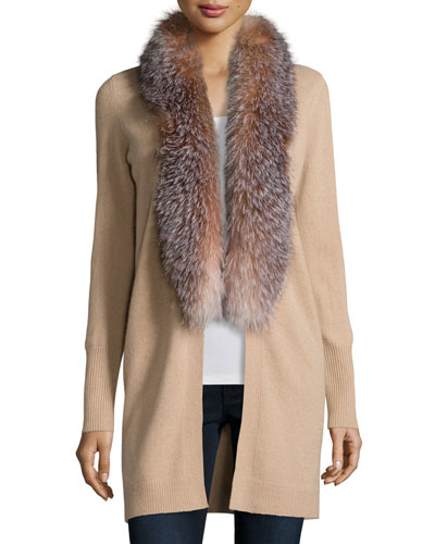Cashmere Fox Fur Collar Cardigan