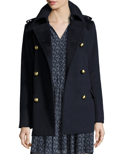 Double-Breasted Wool-Blend Military Pea Coat, New Navy