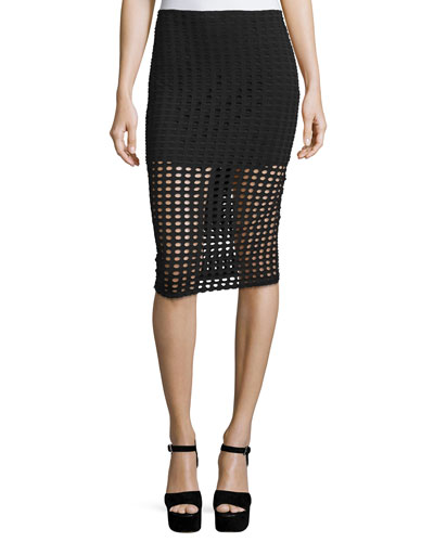 Circle-Pattern Laser-Cut Pencil Skirt