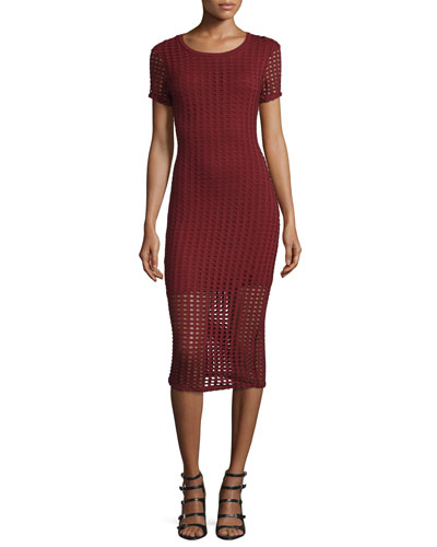 Laser-Cut Short-Sleeve Fitted Midi Dress