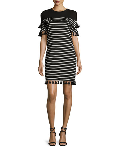 Tassel-Trim Striped Knit Dress