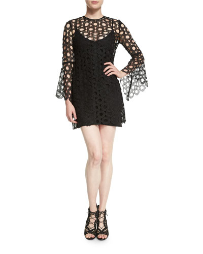 Lace-Overlay Long-Sleeve Mini Dress, Black