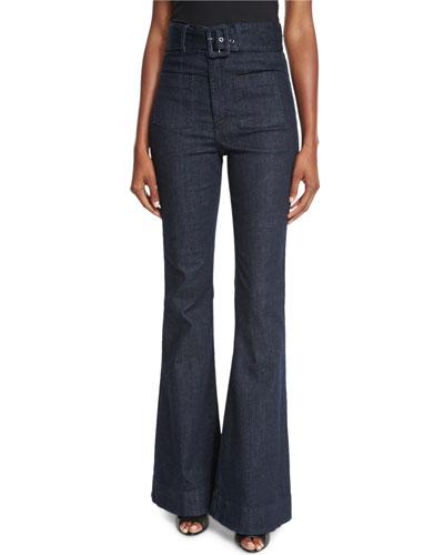 Belted High-Waist Flare-Leg Jeans, Indigo
