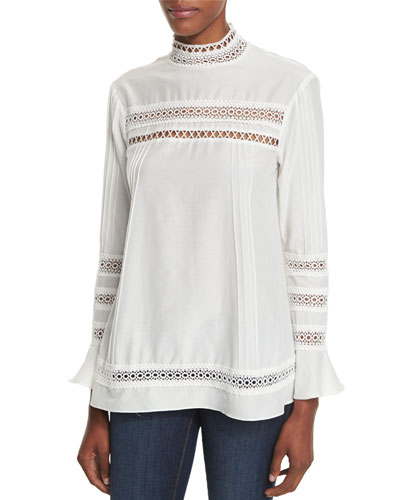 Lace-Trim Long-Sleeve Pintuck Blouse