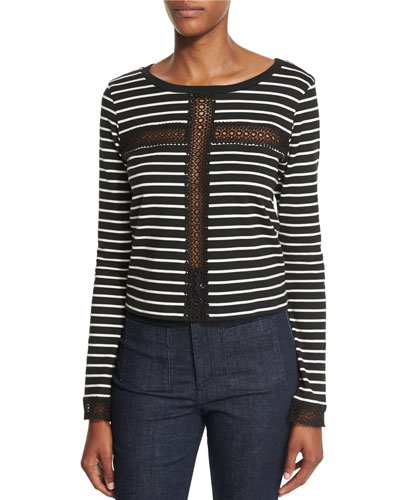 Striped Lace-Inset Long-Sleeve Top