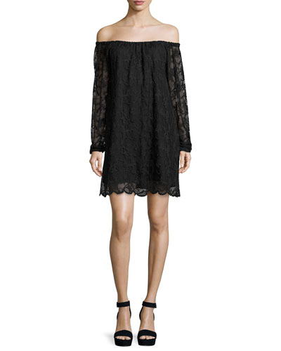 Dentelle Lace Off-the-Shoulder Shift Dress, Black