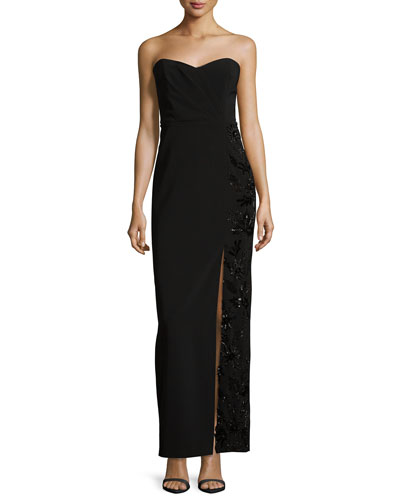 Strapless Beaded Sweetheart Column Gown, Black
