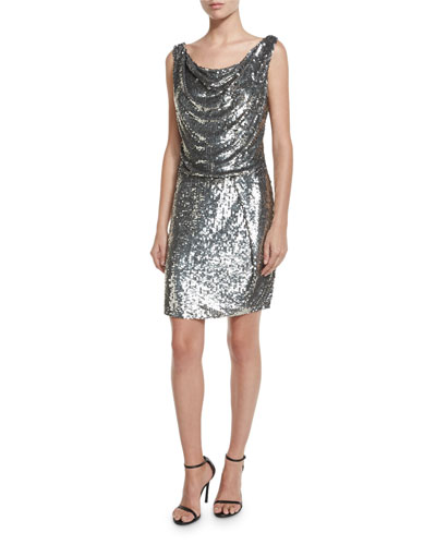 Sleeveless Sequined Cowl Sheath Dress, Antique Silver