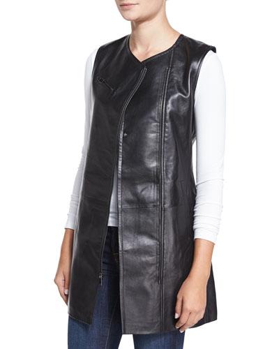 Long Asymmetric Zip-Front Leather Vest, Black