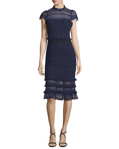Annabelle Lace Cap-Sleeve Midi Dress, Aquarius