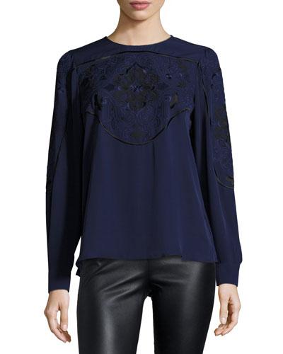 Harper Embroidered Silk Blouse, Aquarius