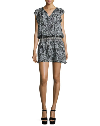 Dean Floral-Print Silk Blouson Dress, Filaree