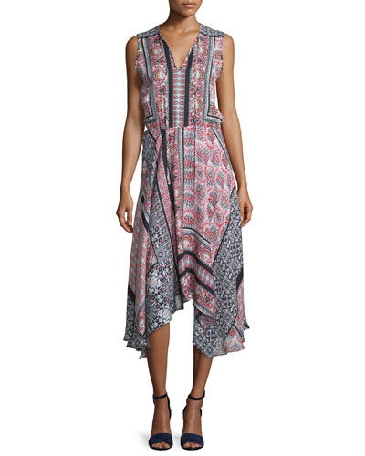 Lota Patchwork-Print Midi Dress