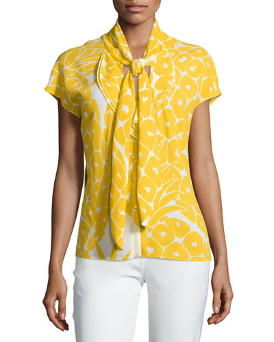Cap-Sleeve Tie-Neck Printed Top, Pineapple