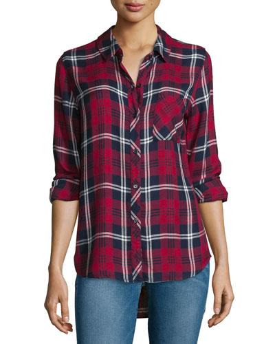 Hunter Plaid Long-Sleeve Shirt, Cherry/Navy/White
