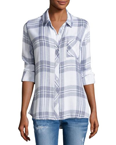 Hunter Plaid Long-Sleeve Shirt, White/Indigo Melange