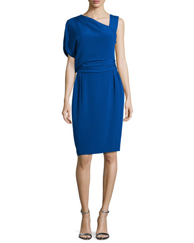 Draped One-Sleeve Sheath Dress, Azure