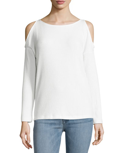 Cold-Shoulder Ribbed Top, Cream