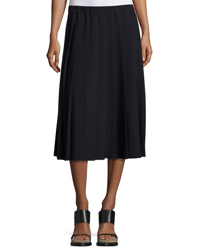 Pleated Pull-On Midi Skirt, New Navy
