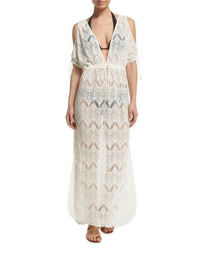 Boardwalk Cold-Shoulder Lace Coverup