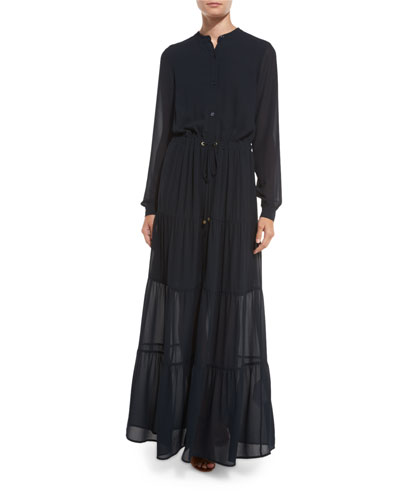 Long-Sleeve Tiered Chiffon Maxi Dress, New Navy