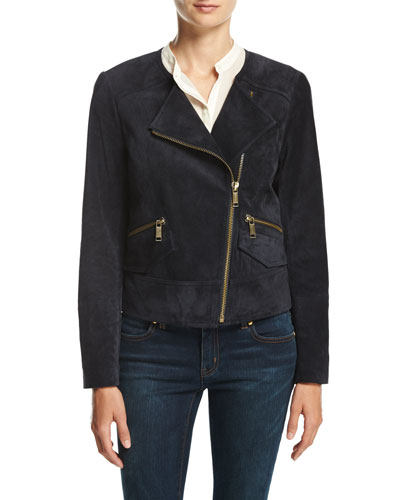 Suede Moto Jacket, New Navy