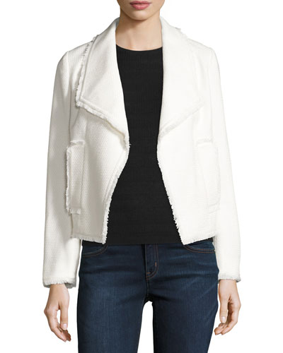 Cropped Open-Front Tweed Jacket, Cream