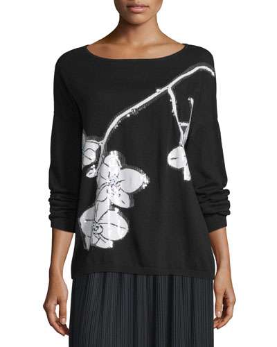 Sequined Orchid Intarsia Sweater, Black/White, Petite