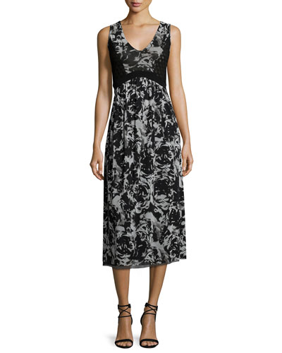 Sleeveless Floral-Print Midi Dress