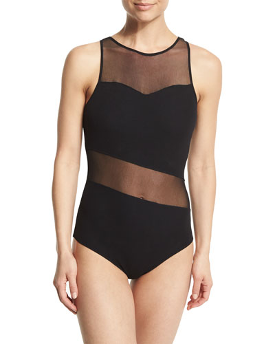 Mesh-Inset One-Piece Swimsuit