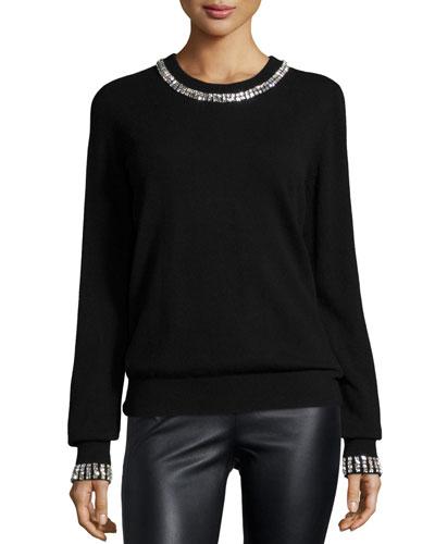 Embellished Cashmere Sweater, Black