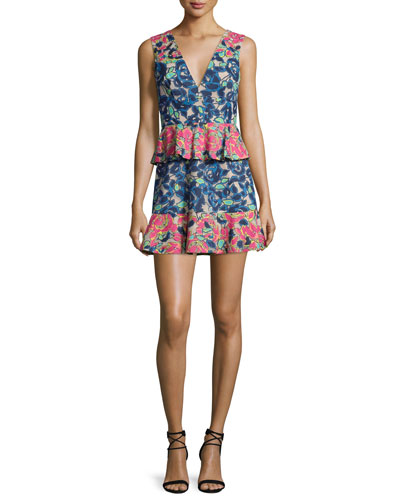 Caron Floral-Print Peplum Fit & Flare Dress