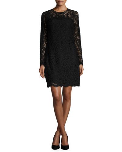 Long-Sleeve Scalloped Lace Shift Dress, Black